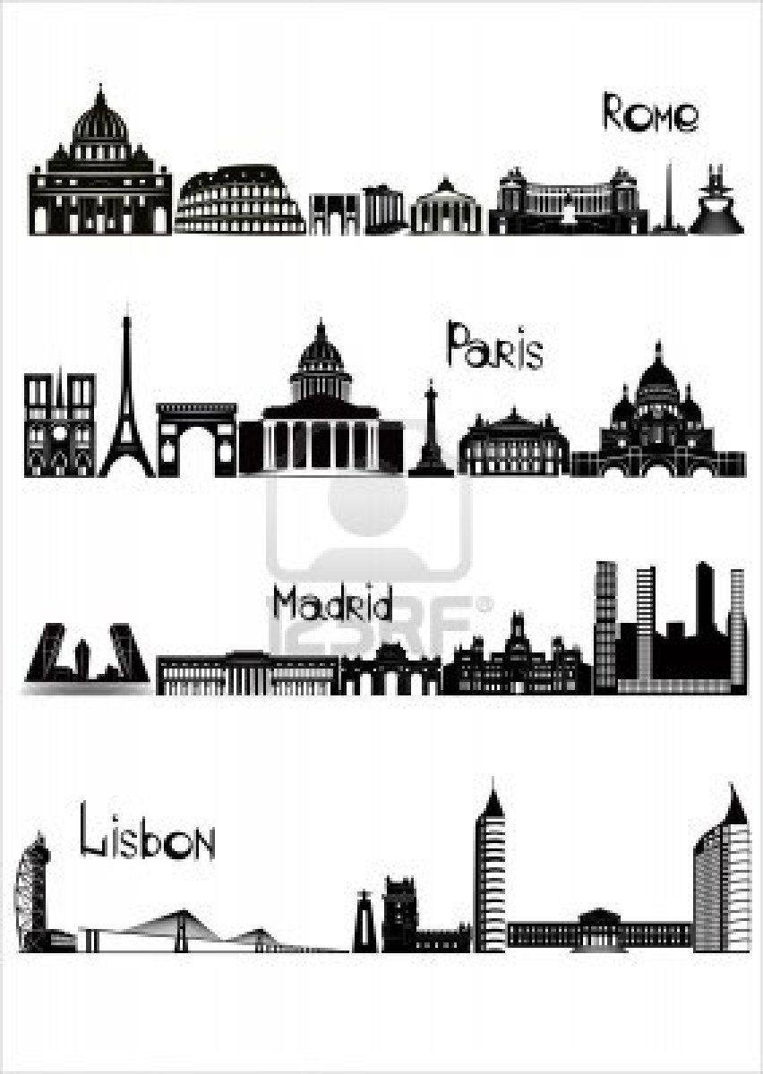 City map clipart black and white madrid image royalty free library Stock Vector | European travel | Madrid, Rome, Paris image royalty free library