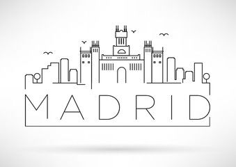 City map clipart black and white madrid vector freeuse download Vector: Madrid City Line Silhouette Typographic Design | Planners in ... vector freeuse download