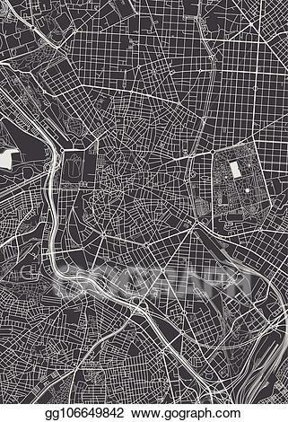 City map clipart black and white madrid graphic library library EPS Vector - Madrid city plan, detailed vector map. Stock Clipart ... graphic library library