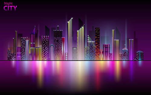 City night skyline clipart