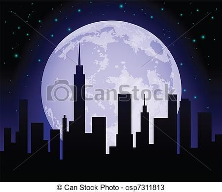 City night skyline clipart graphic free download Vector - City Skyline at Night - stock illustration, royalty free ... graphic free download