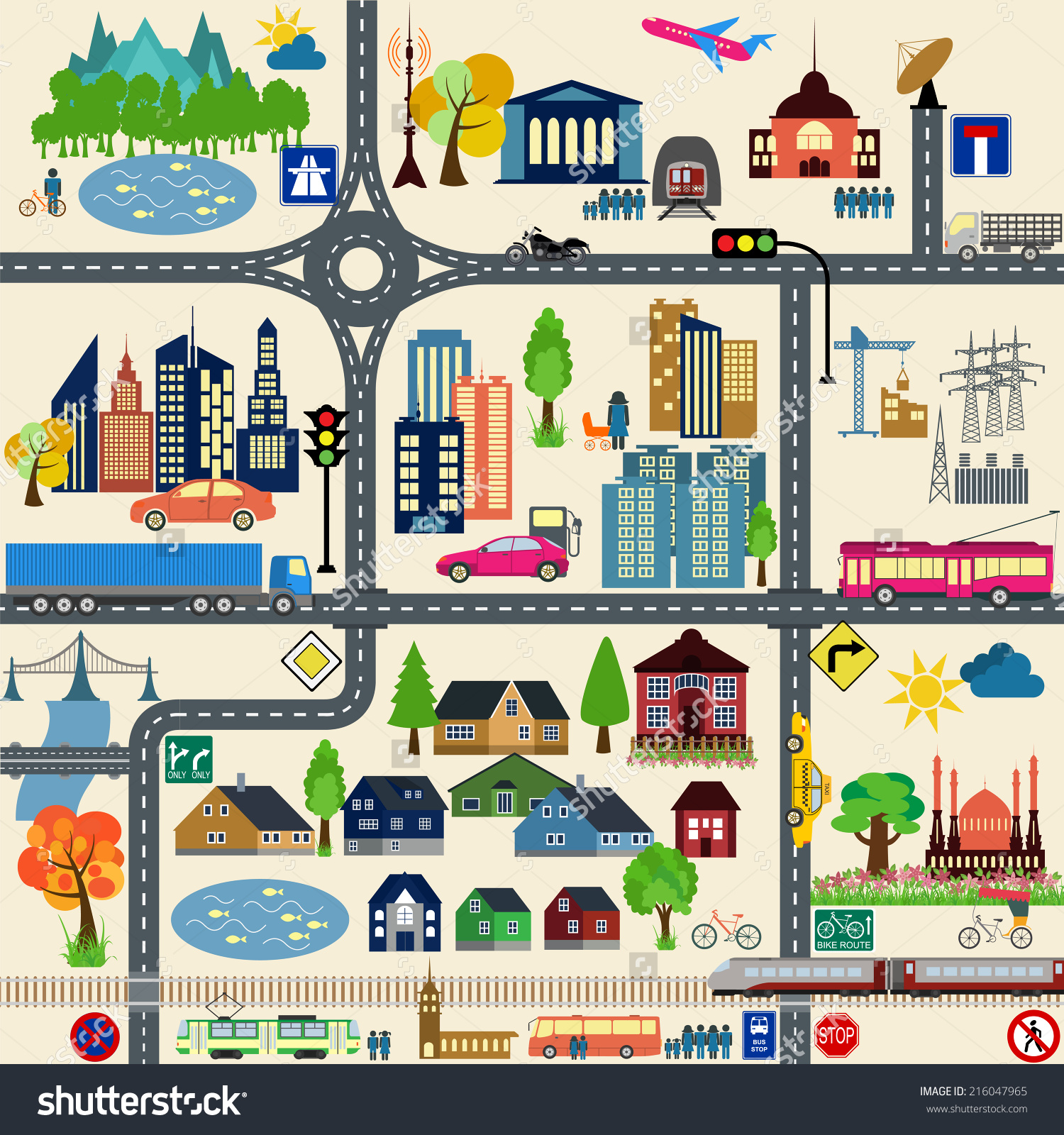 City road map clipart png library Modern City Map Elements Generating Your Stock Vector 216047965 ... png library