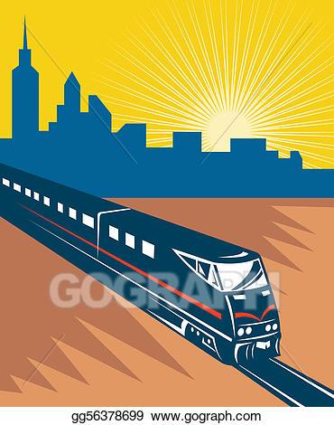 City train clipart banner black and white Clipart - Speeding passenger train city skyline. Stock Illustration ... banner black and white