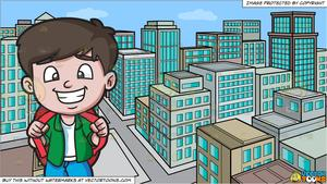 City trip clipart image A Happy Boy Going On A Weekend Trip and A View Of The City From A Top Of A  Building During The Day Background image