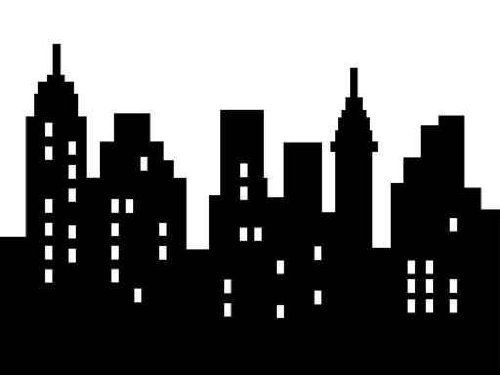 Cityscape clipart black backround clipart library Abstract City Silhouette, Black on White, Isolated | Drawing ... clipart library