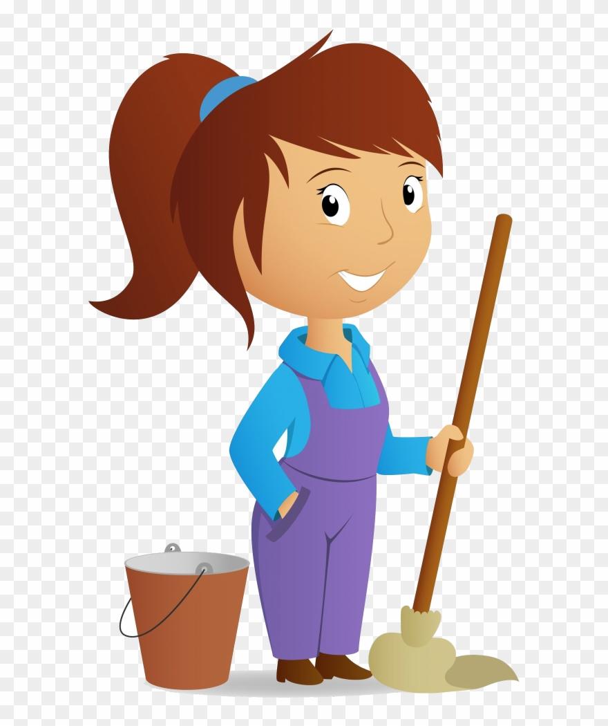 Claining clipart vector freeuse Maid On Call - Girl Cleaning Clipart - Png Download (#1621919 ... vector freeuse