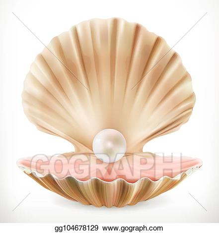 Clam shell with pearl clipart banner freeuse download Vector Art - Shell with pearl. clam, oyster 3d vector icon. EPS ... banner freeuse download