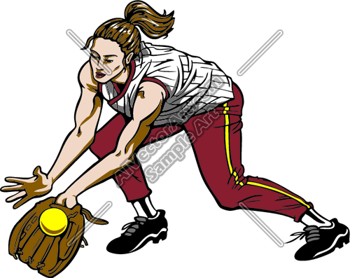 Clam softball clipart image royalty free library Female Softball Catching Ball Clipart and Vectorart: Sports ... image royalty free library