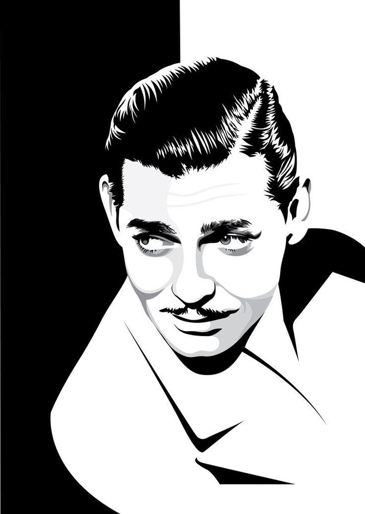 Clark gable clipart black and white Vector Portrait Clark Gable by pin-n-needles.dev… on @deviantART ... black and white