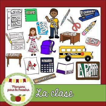 Clase clipart clip art black and white La clase/la escuela Spanish clipart - visual vocabulary   Vocabulary ... clip art black and white