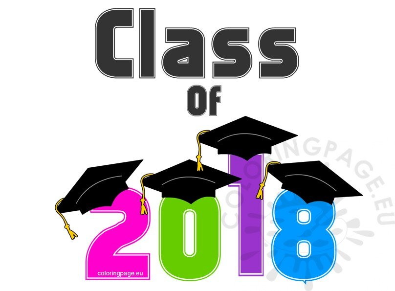 Class 2018 clipart vector black and white download Multicolor Graduation Class of 2018 – Coloring Page vector black and white download