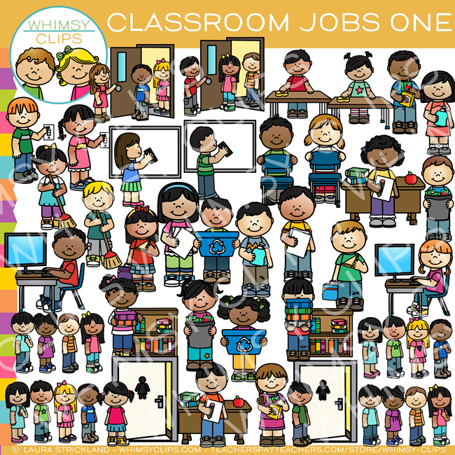 Class helpers clipart vector royalty free library Classroom Jobs Clip Art - Set One vector royalty free library