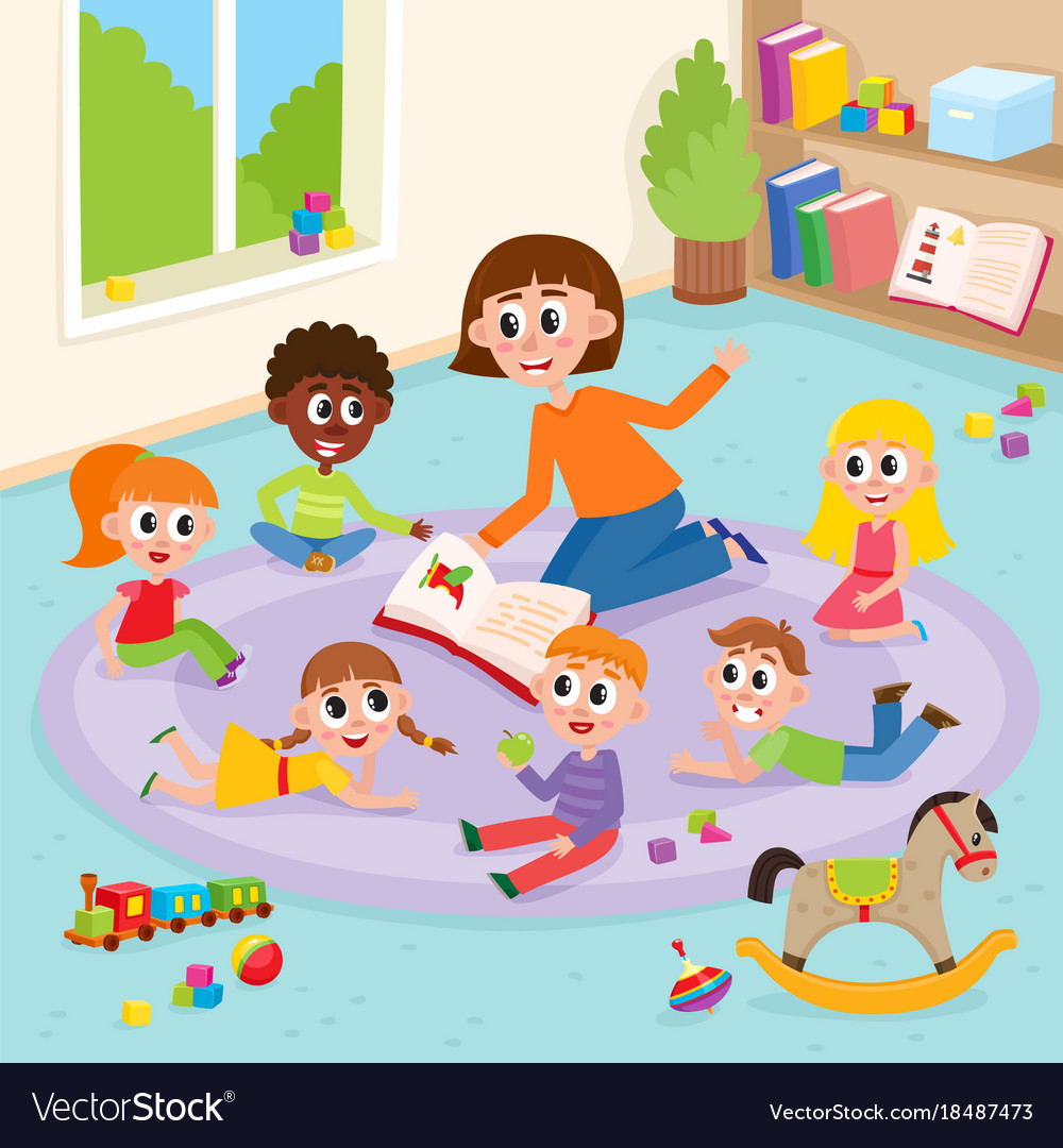 Class of clipart kindergarten kids on carpet graphic free Kindergarten kids in classroom and teacher reading graphic free