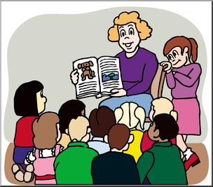 Class picture clipart jpg freeuse stock Clip Art: Teacher Reading to Class Color I abcteach.com   abcteach jpg freeuse stock
