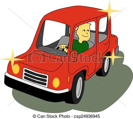 Classic car and new car picture clipart picture black and white library EPS Vector of Brand New Car - Man inside a red car is happy and ... picture black and white library