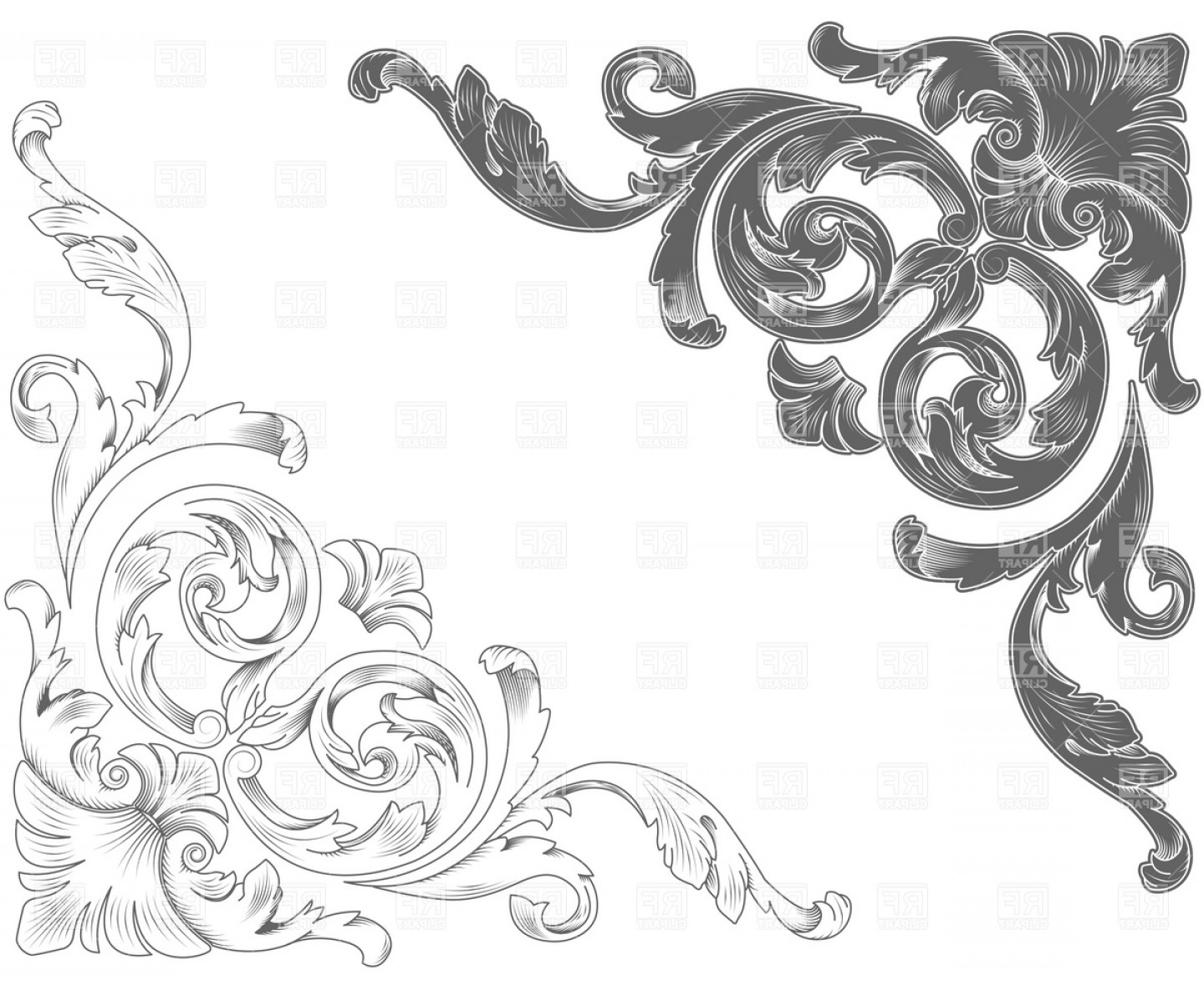 Classic vector clipart banner black and white library Classic Ornamental Corners Vector Clipart | HandandBeak banner black and white library