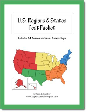 Classroom clipart states png royalty free U.S. Regions & States Test Packet   Pinterest   Us regions, A well ... png royalty free