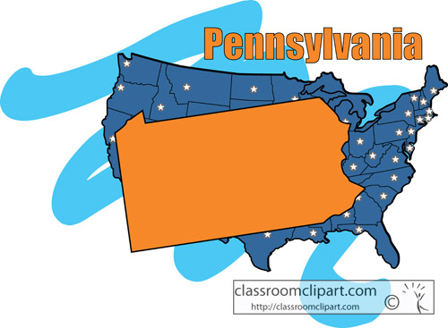 Classroom clipart states. Pennsylvania map kid state