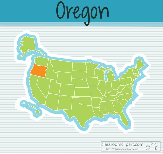 Oregon us map state. Classroom clipart states