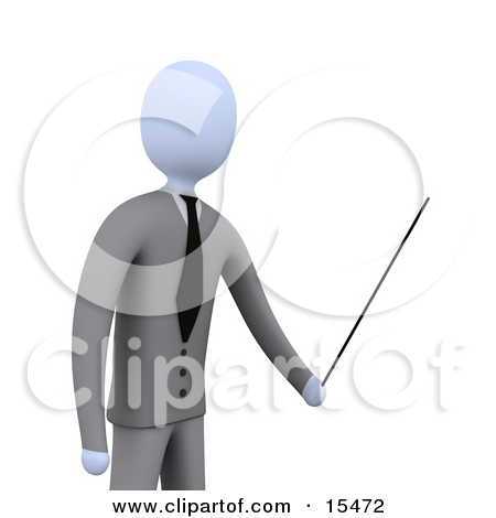 Classroom pointer clipart picture free stock Blue Teacher Standing In Front Of A Blank Chalkboard And Using A ... picture free stock