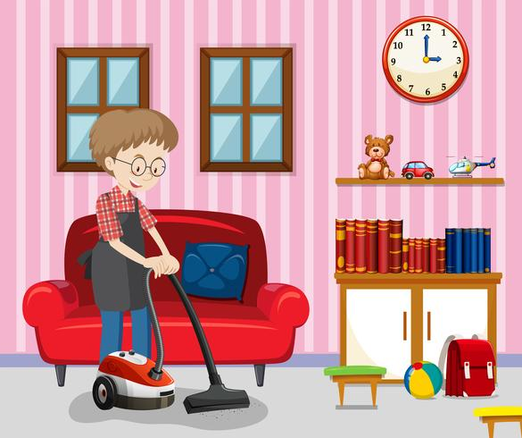 Clean living room clipart clip free A Man Cleaning Living Room Vector - Download Free Vector Art, Stock ... clip free