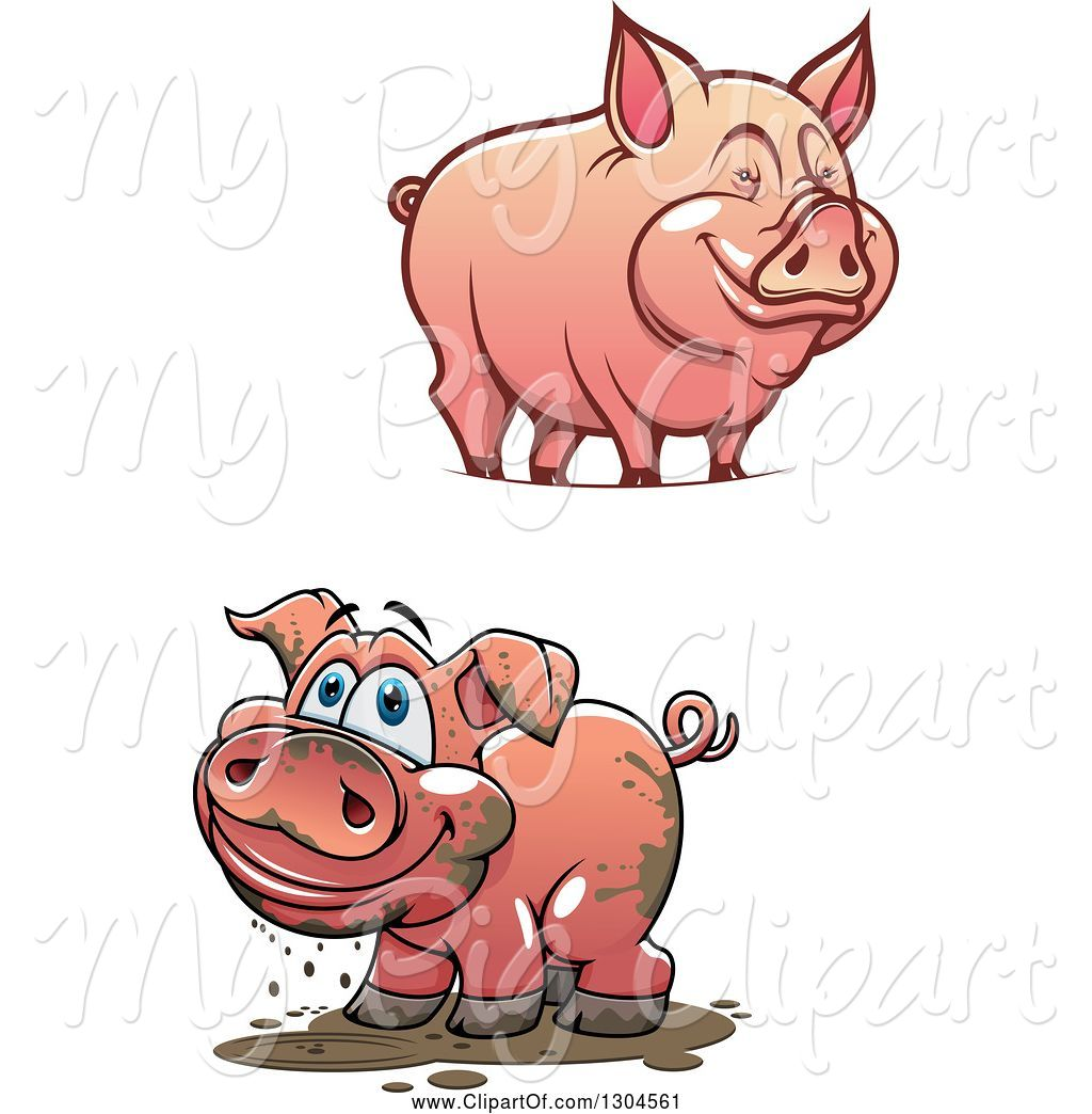 Clean pig clipart svg transparent stock Swine Clipart of Happy Cartoon Muddy and Clean Pigs by Vector ... svg transparent stock