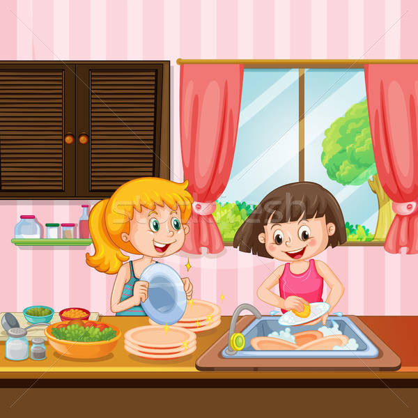 Clean with sister clipart image transparent Sister Cleaning Dishes in Kitchen vector illustration © Matthew Cole ... image transparent