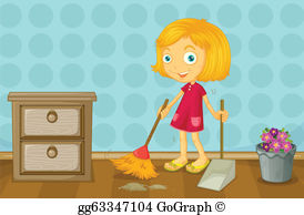 Clean with sister clipart clipart royalty free stock Chores Clip Art - Royalty Free - GoGraph clipart royalty free stock