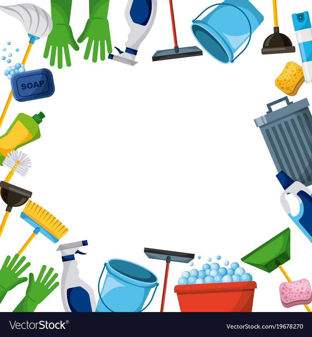Cleaners clipart graphic royalty free download Spring cleaning supplies border tools of graphic royalty free download