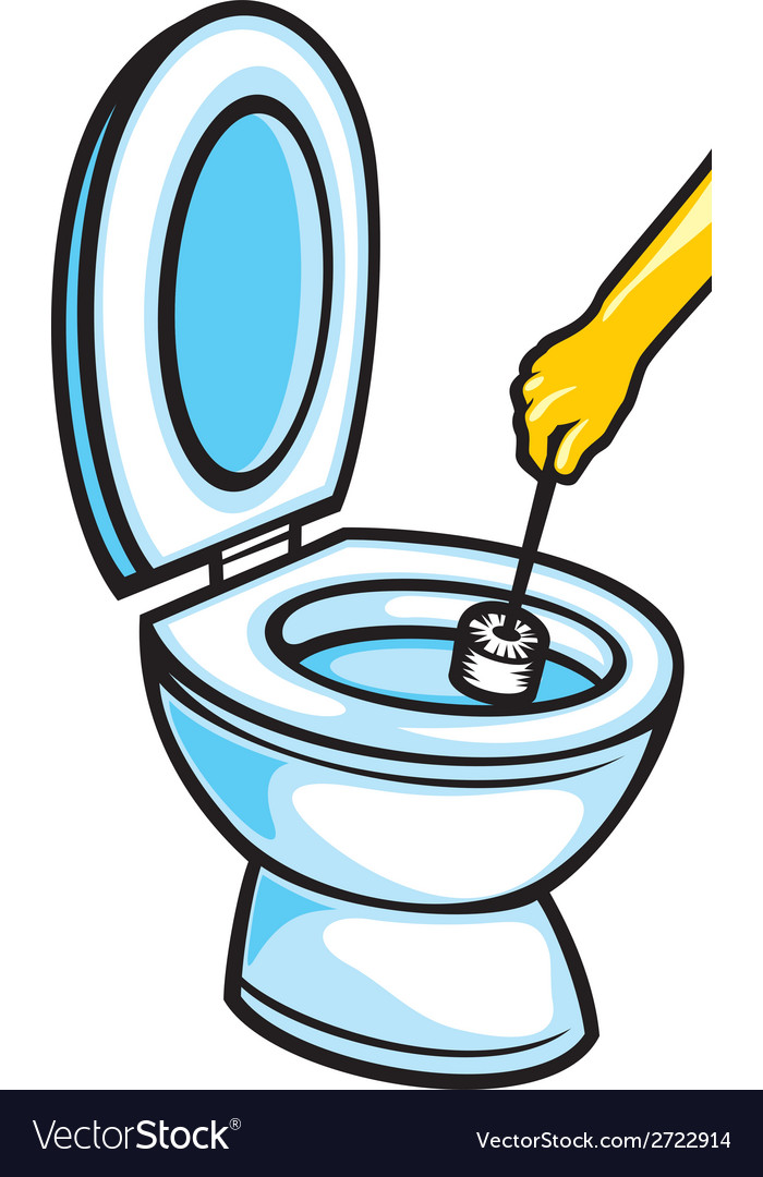 Cleaning the bathroom clipart image royalty free stock Cleaning a toilet bowl with brush image royalty free stock