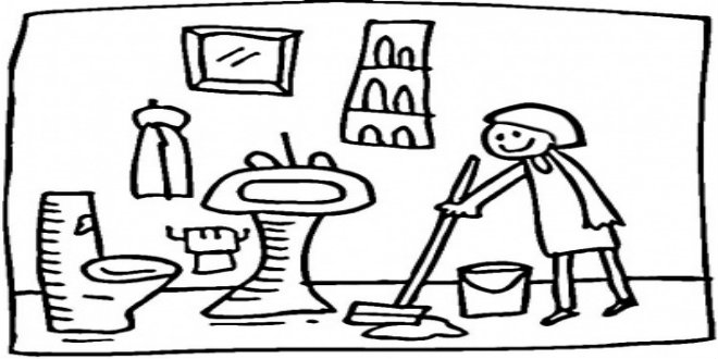 Cleaning the bathroom clipart black and white picture freeuse Cleaning paintings search result at PaintingValley.com picture freeuse