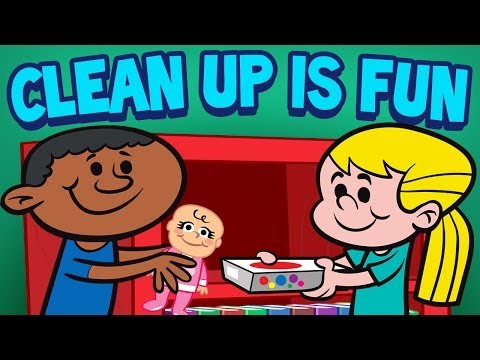 Cleaning up preschool clipart banner black and white Clean Up is Fun - Children\'s Cleaning Song - Kids Songs by The Learning  Station banner black and white