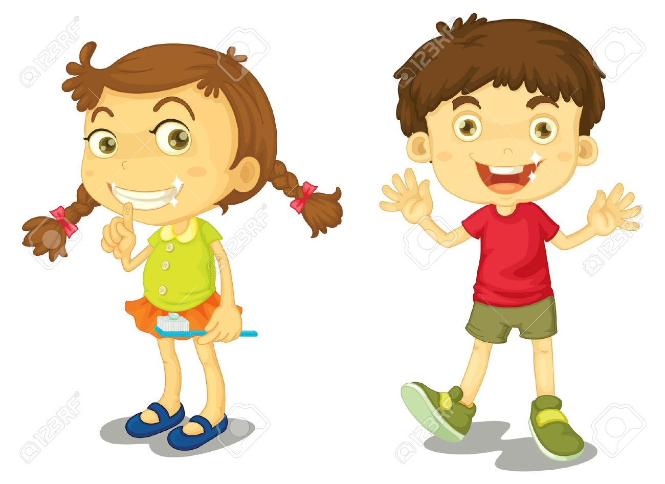 Cleaning with kids clipart svg free Boy And Girl With Clean Teeth Royalty Free Cliparts, Vectors, And ... svg free