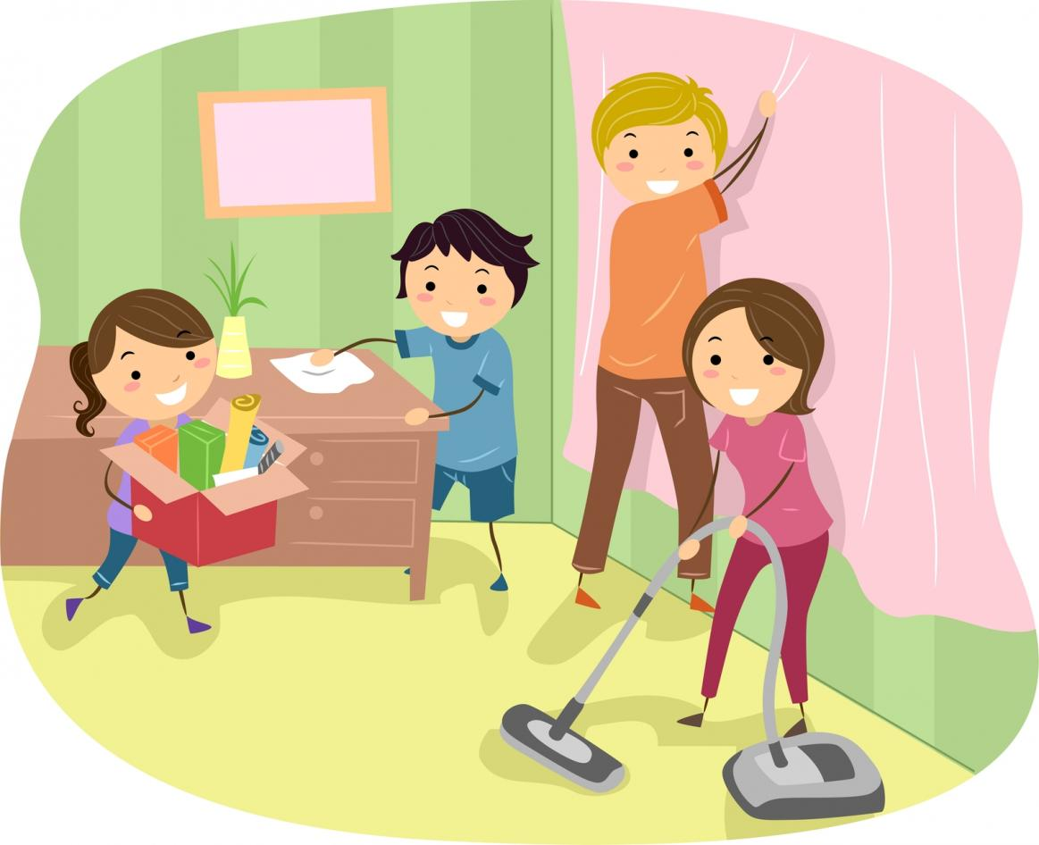 Cleaning with kids clipart image royalty free library Children helping parents in cleaning house clipart - ClipartFest image royalty free library