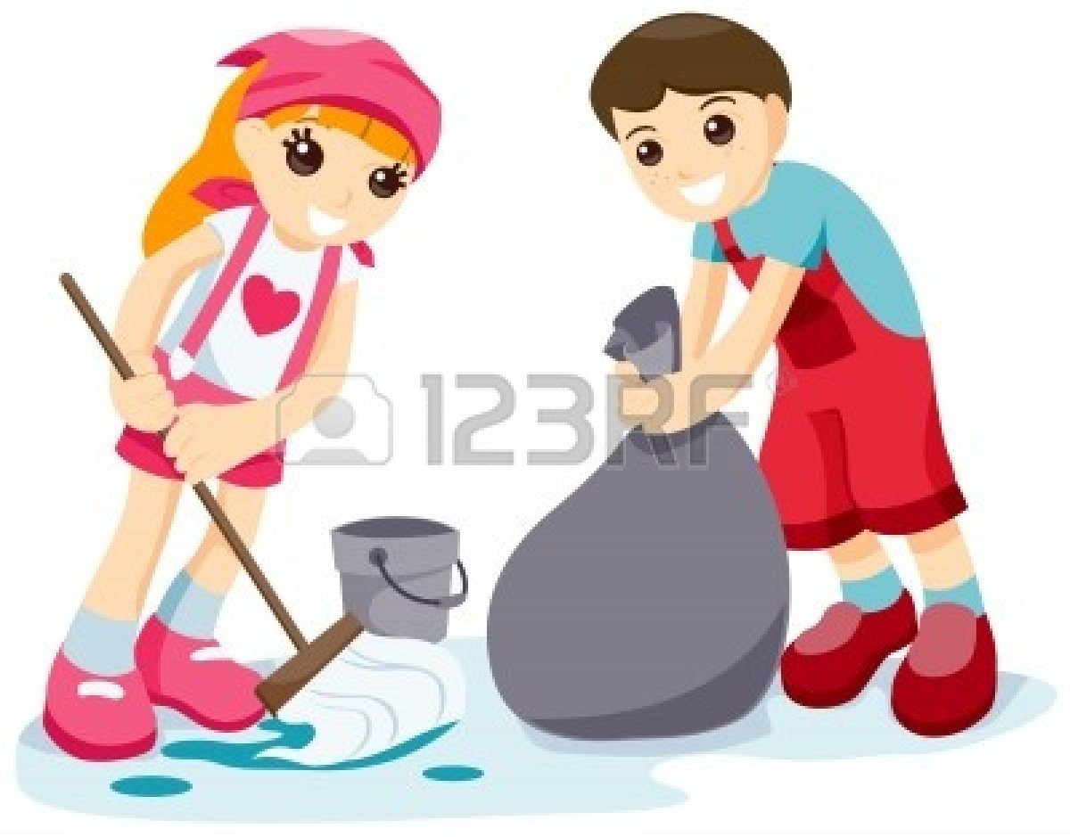 Cleaning with kids clipart graphic black and white library Clipart animated kids cleaning up a classroom - ClipartFest graphic black and white library