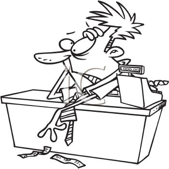 Clerk clipart black and white image royalty free library Royalty Free Clipart Image: Black and White Cartoon of a Frazzled ... image royalty free library