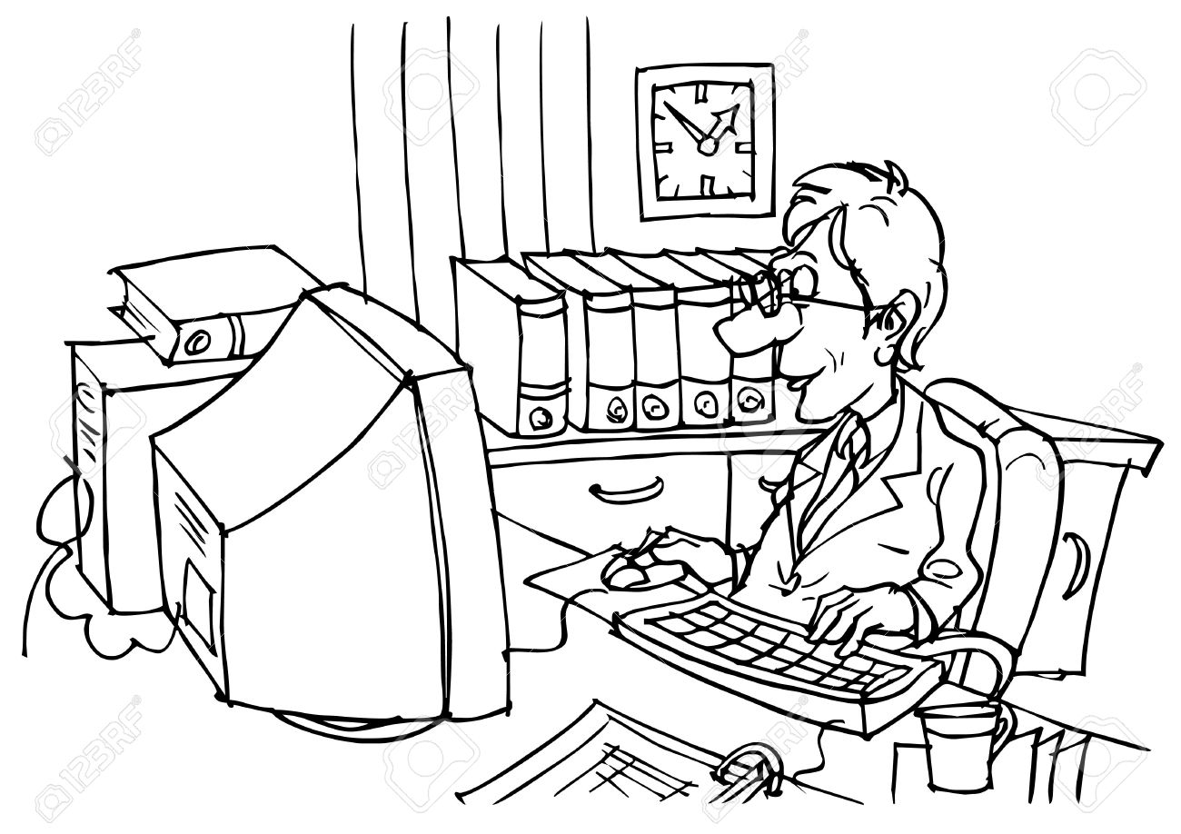 Clerk clipart black and white clip art black and white stock Bookkeeper Stock Photo, Picture And Royalty Free Image. Image 5800082. clip art black and white stock