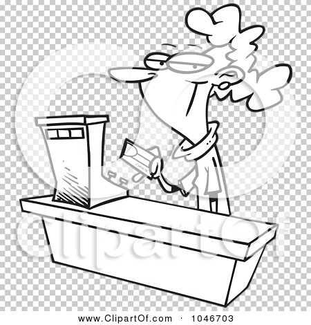 Clerk clipart black and white svg royalty free library Royalty-Free (RF) Clip Art Illustration of a Cartoon Black And ... svg royalty free library