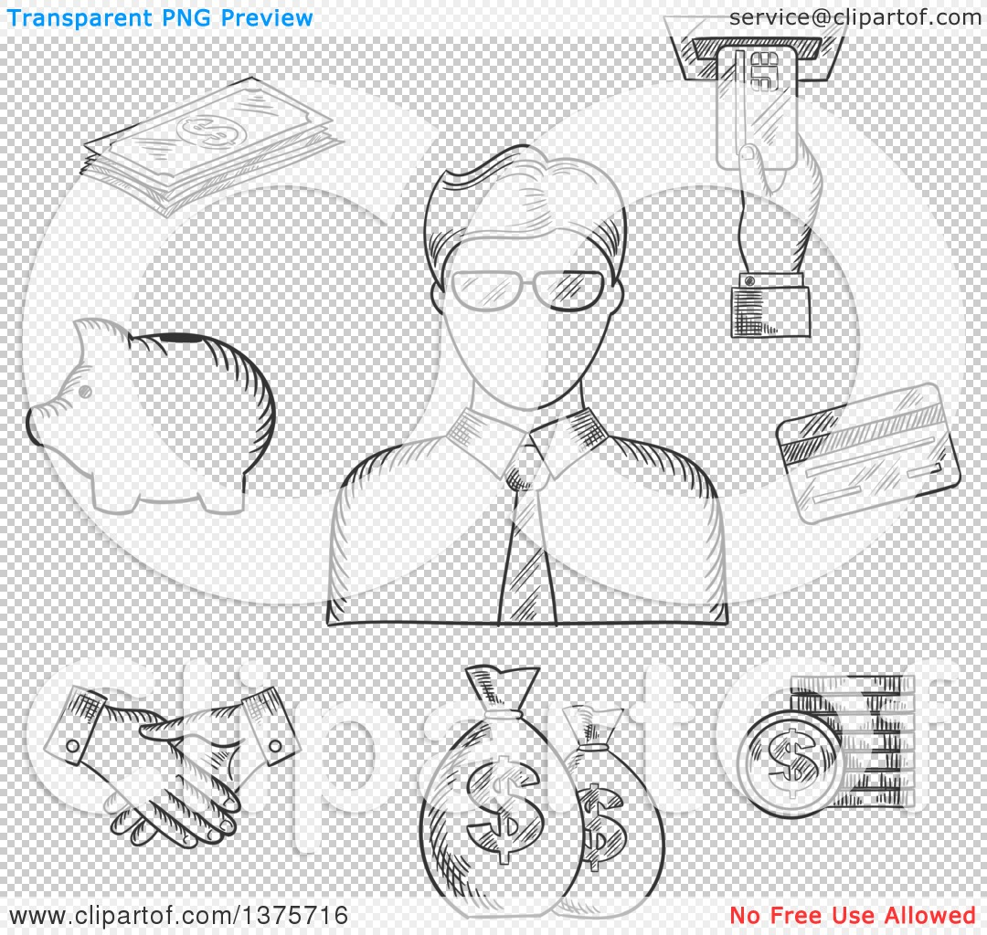 Clerk clipart black and white image library library Clipart of a Black and White Sketched Clerk in Glasses and ... image library library