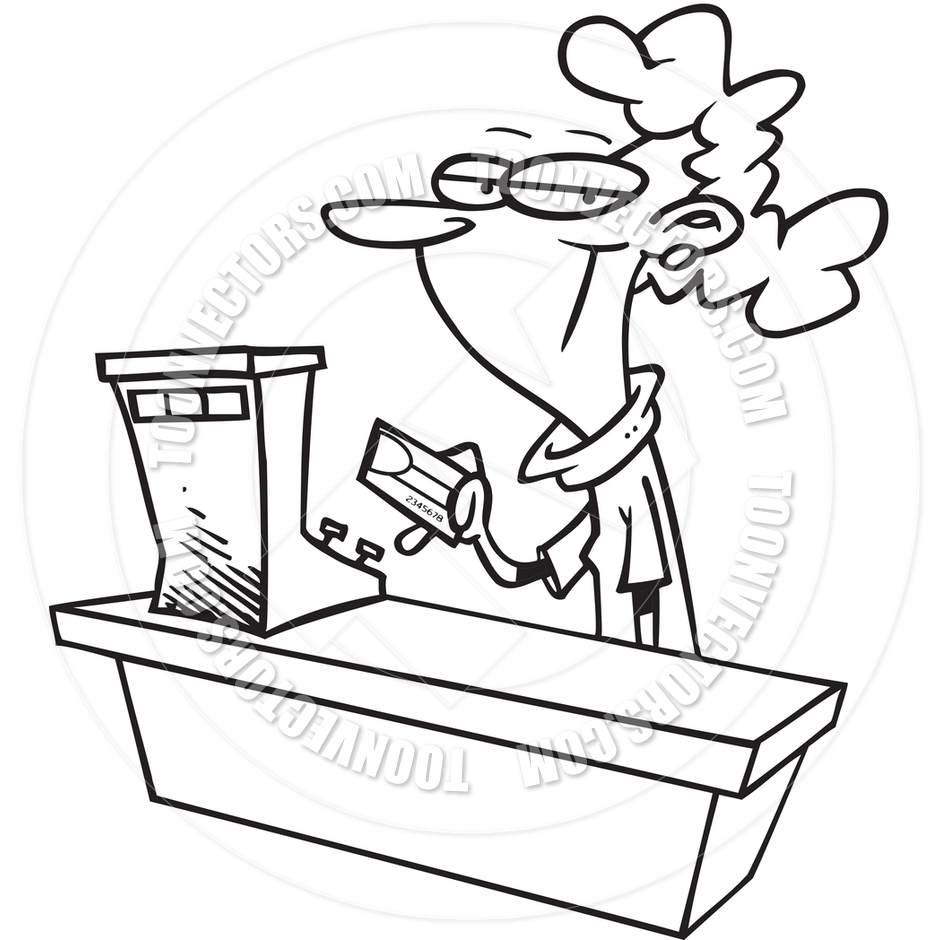 Clerk clipart black and white picture transparent Pay Clerk Clipart - Clipart Kid picture transparent