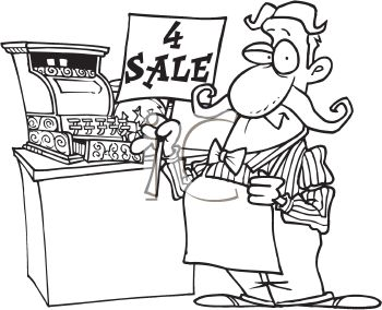 Clerk clipart black and white banner black and white download Black and White Cartoon of a Sales Clerk Holding a 4 Sale Sign by ... banner black and white download