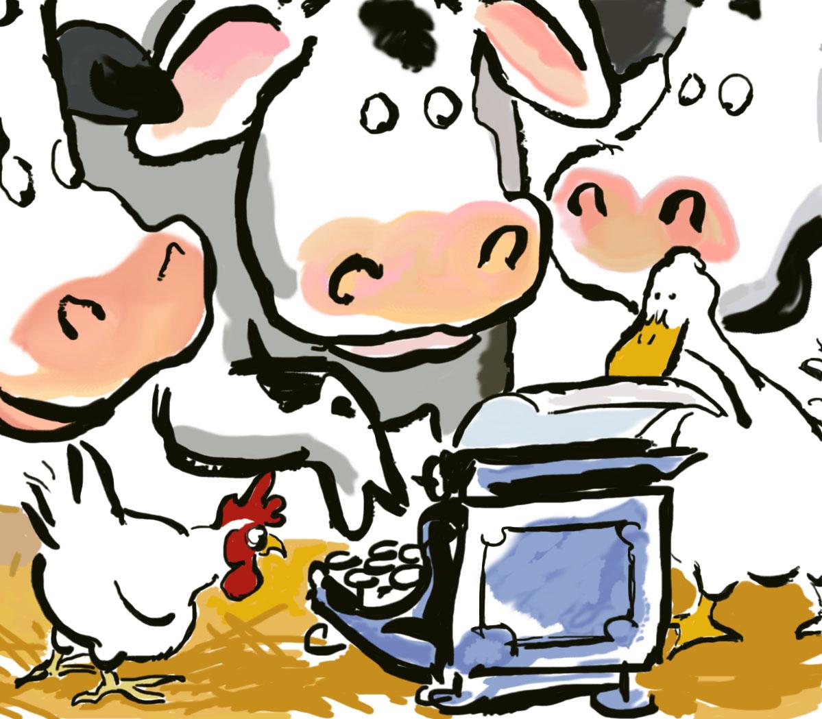 Click clack moo cows that type clipart vector transparent stock Salt Lake Acting Company - Click Clack Moo: Cows That Type vector transparent stock