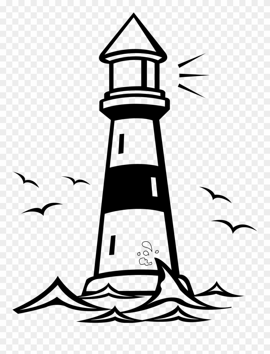 Lighthouse clipart black and white picture transparent library Cliff Clipart Lighthouse - Lighthouse Black And White Clipart - Png ... picture transparent library