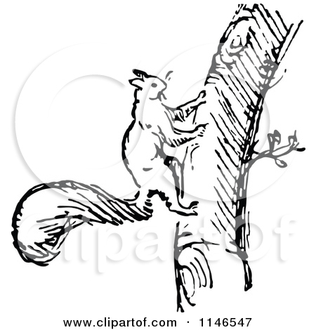 Climbing logo clipart black and white free stock Clipart of a Retro Vintage Black and White Squirrel Climbing a ... free stock