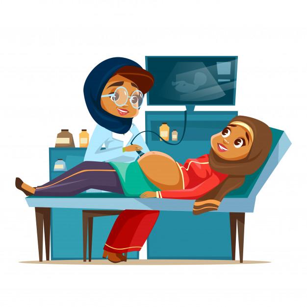 Clinics health pregnancy clipart clip art transparent download Cartoon arab ultrasound pregnancy screening concept. Muslim khaliji ... clip art transparent download