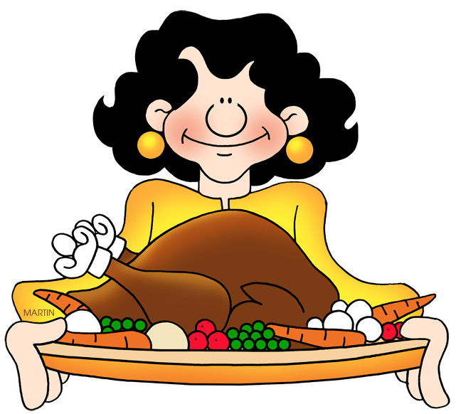Cute turkey on platter clipart