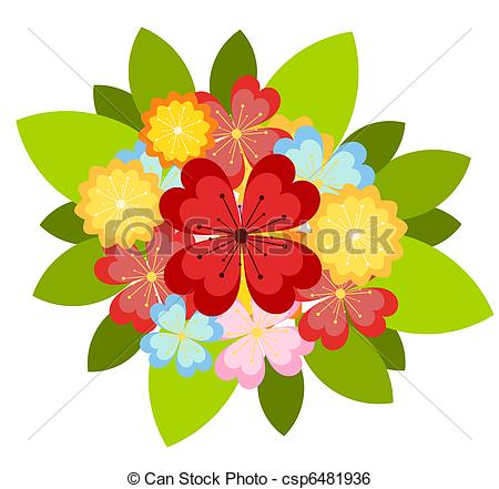 Vector colorful various csp. Clip art bunch of flowers