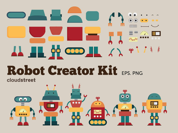 Clip art creator png free download buy 2 get 1 free Cute Robots Creator Kit clip art for personal and ... png free download