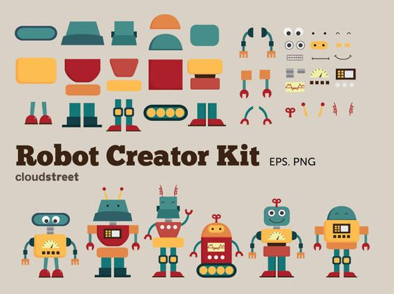 Clip art creator download png library library buy 2 get 1 free Cute Robots Creator Kit clip art for personal and ... png library library