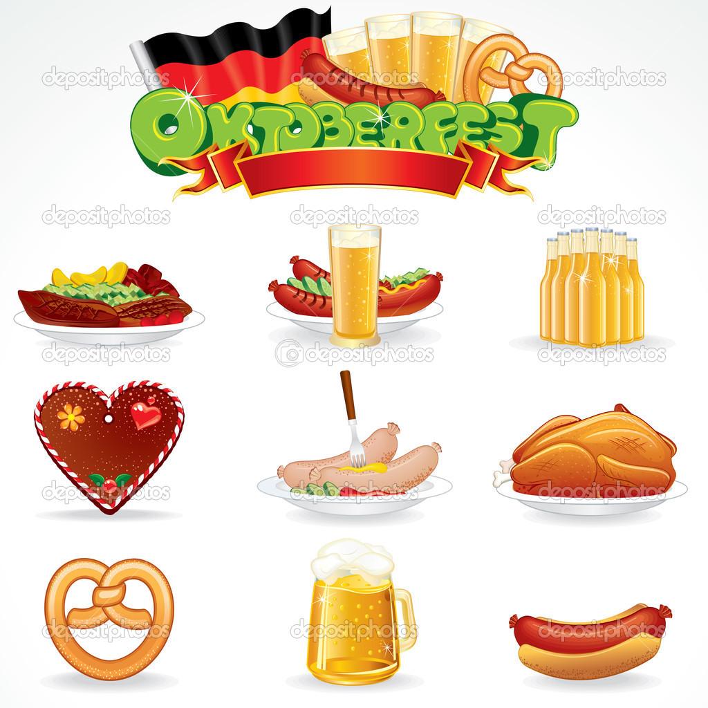 Clip art essen und trinken clip art royalty free stock Oktoberfest Essen Und Trinken Symbole Clipart Stockfoto Pilart ... clip art royalty free stock